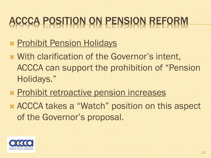 Prohibit Pension Holidays