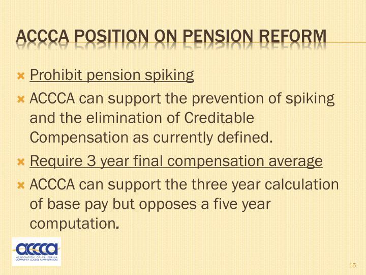 Prohibit pension spiking