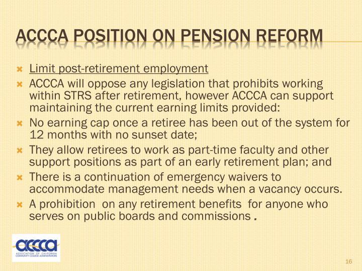 Limit post-retirement employment