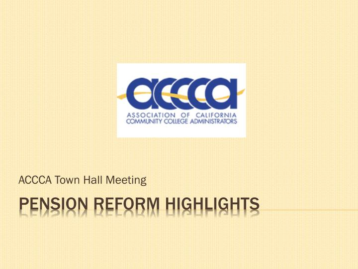 Accca town hall meeting