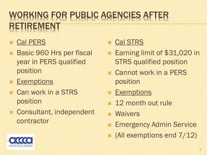 Working for public agencies after retirement