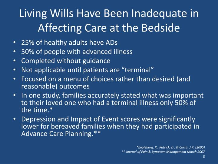 Living Wills Have Been Inadequate in Affecting Care at the Bedside