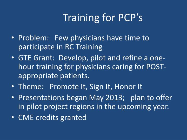 Training for PCP's