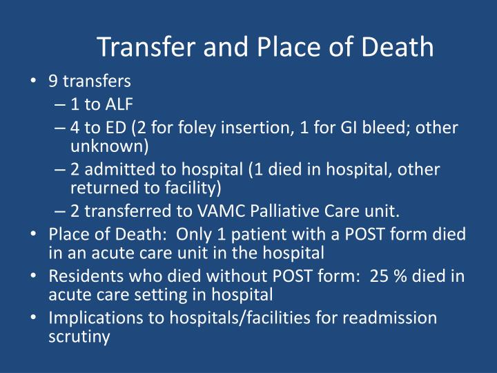 Transfer and Place of Death