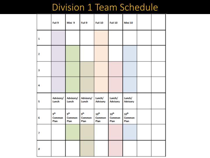 Division 1 Team Schedule