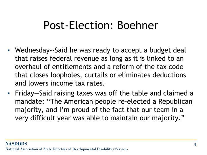 Post-Election: Boehner