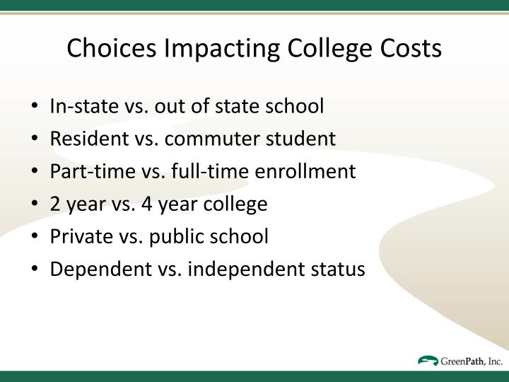 Choices Impacting College Costs