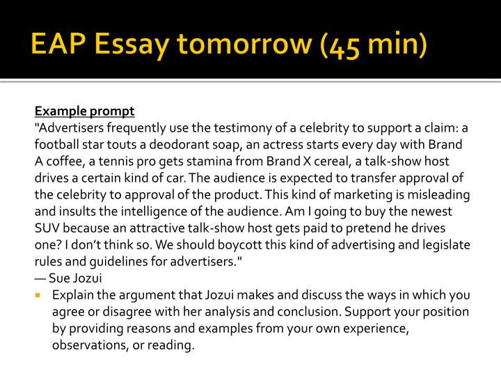 eap essay tomorrow 45 min