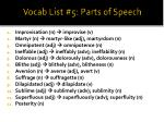 vocab list 5 parts of speech