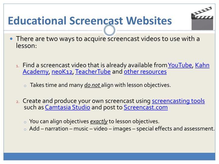 Educational Screencast Websites