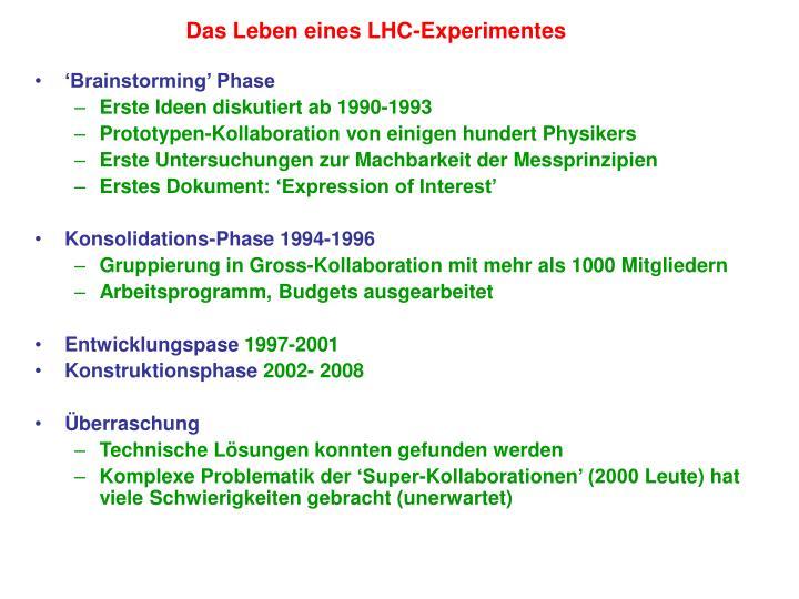 Das Leben eines LHC-Experimentes