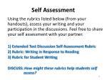 self assessment