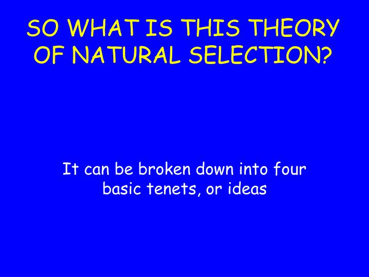 SO WHAT IS THIS THEORY OF NATURAL SELECTION?