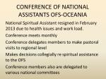 conference of national assistants ofs oceania