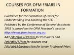 courses for ofm friars in formation
