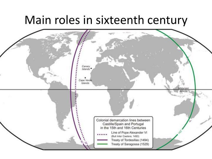 Main roles in sixteenth century