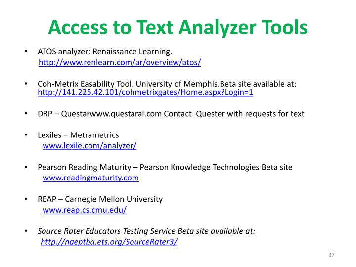 Access to Text Analyzer Tools