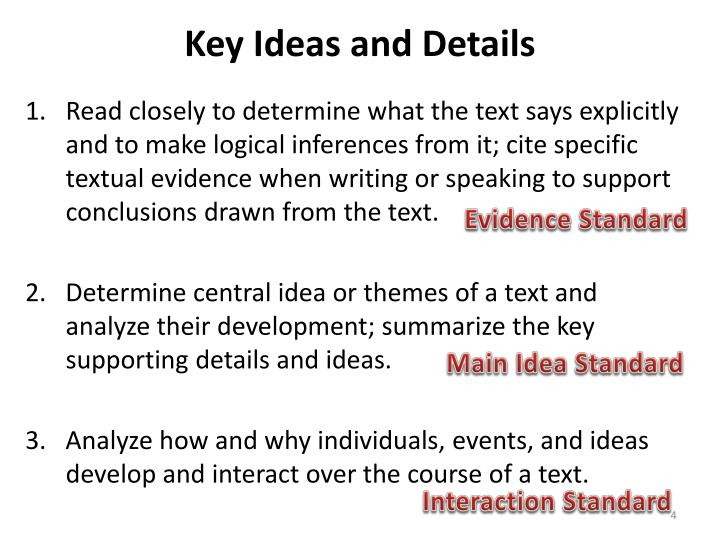 Key Ideas and Details