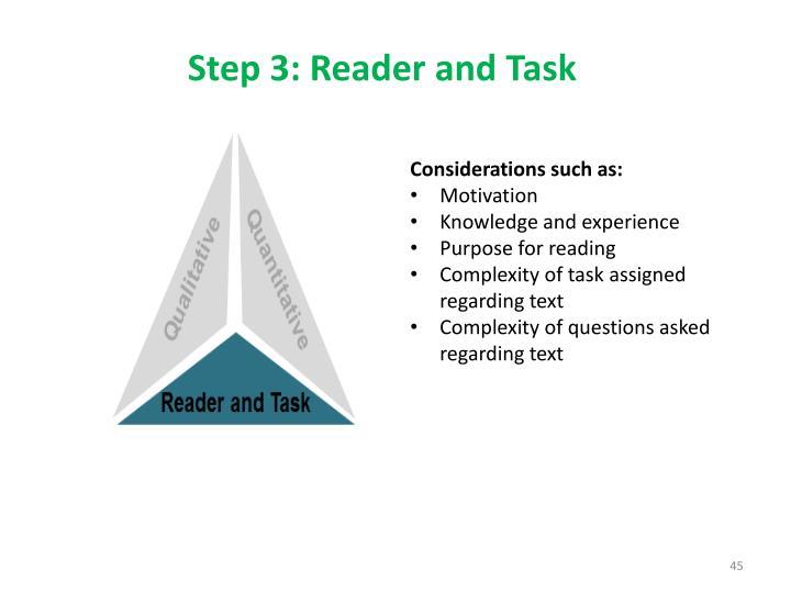 Step 3: Reader and Task