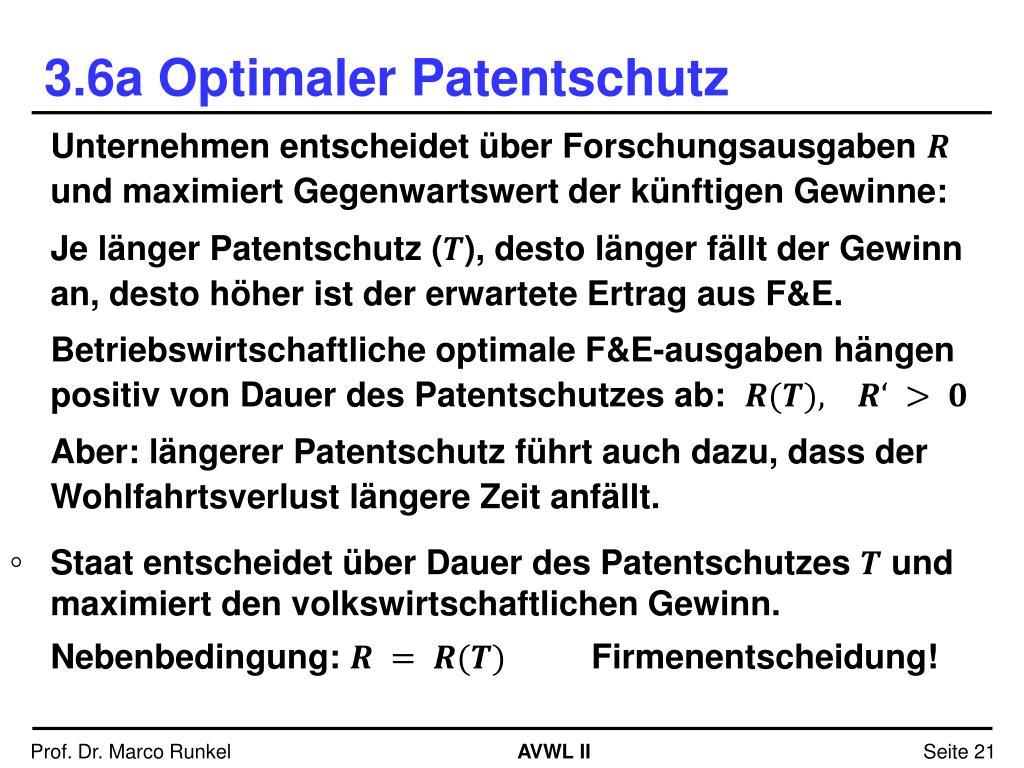Dauer Patentschutz