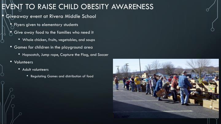 Event to raise Child obesity awareness