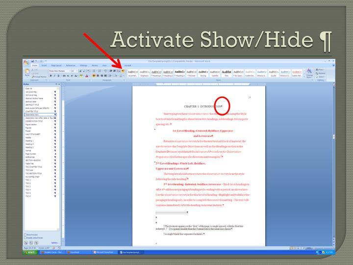 Activate Show/Hide