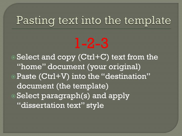 Pasting text into the template