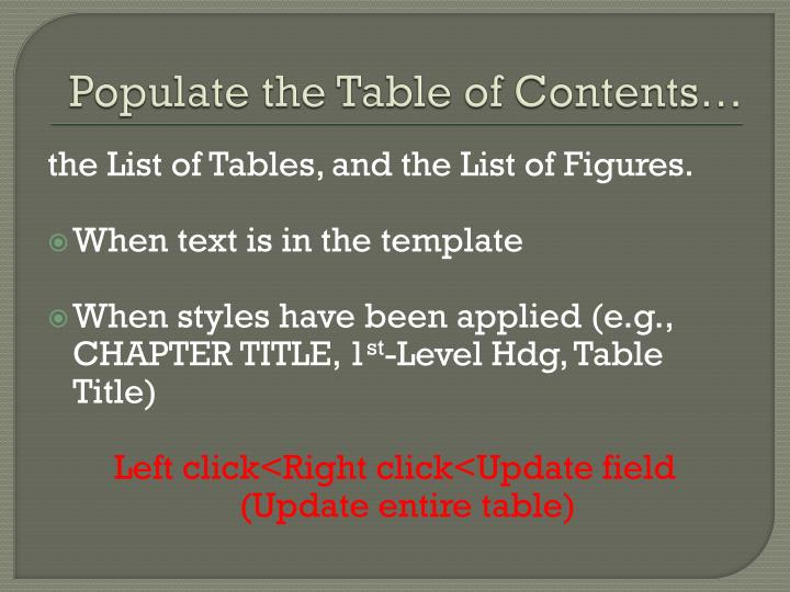 Populate the Table of Contents…