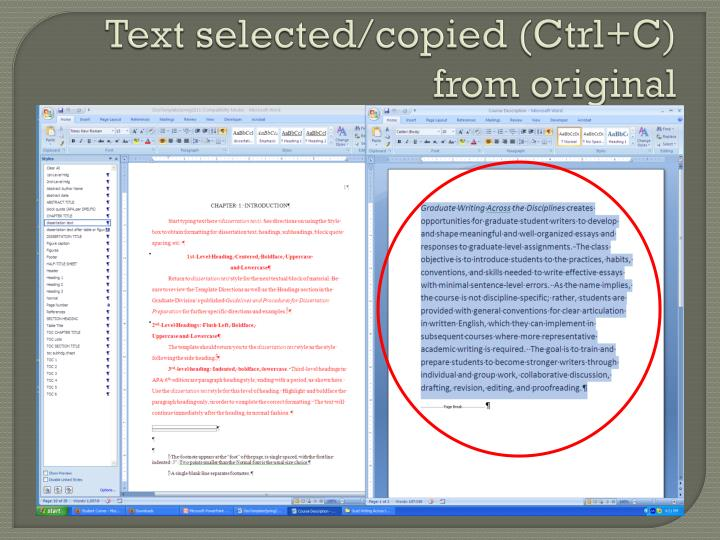 Text selected/copied (