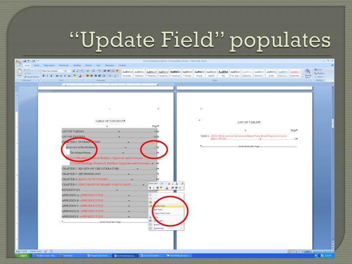 """""""Update Field"""" populates"""
