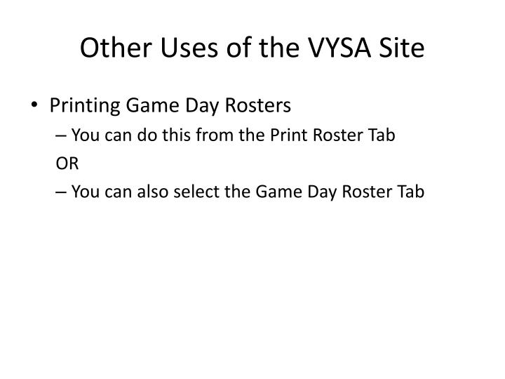 other uses of the vysa site n.
