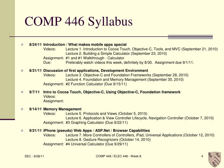 COMP 446 Syllabus