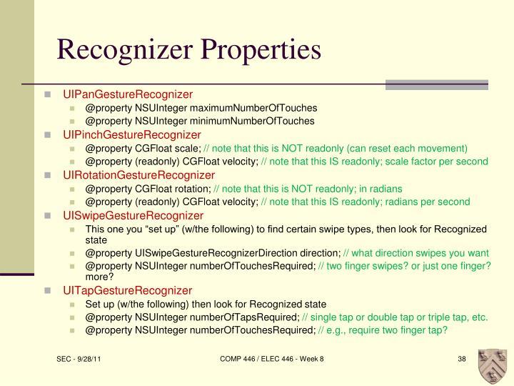 Recognizer Properties