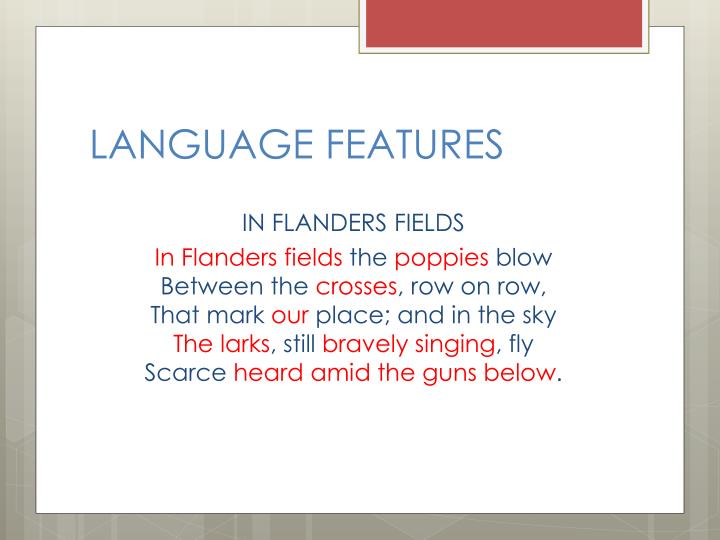 study in flander fields An introduction to one of the most famous poems of wwi although the association between fields of poppies and commemorating the war dead predates the first world war, the war-poppies connection was certainly popularised by wwi and in particular by this john mccrae poem, 'in flanders fields.