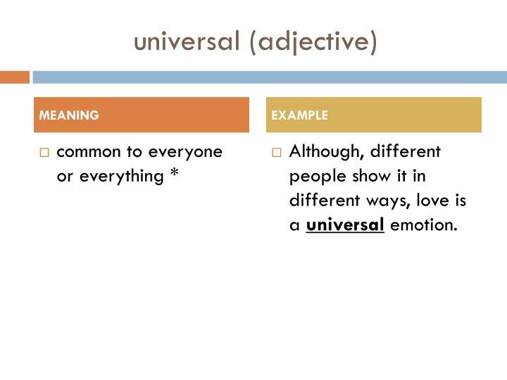 U niversal adjective