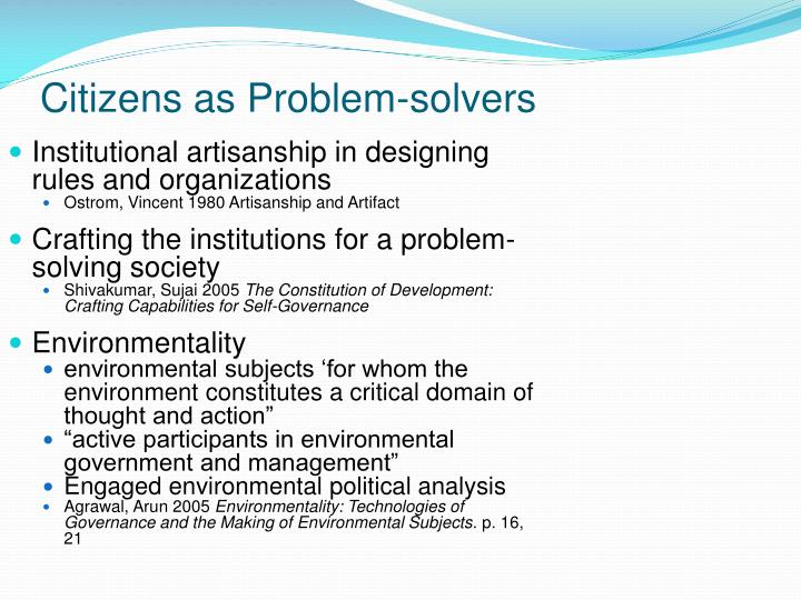 Citizens as Problem-solvers