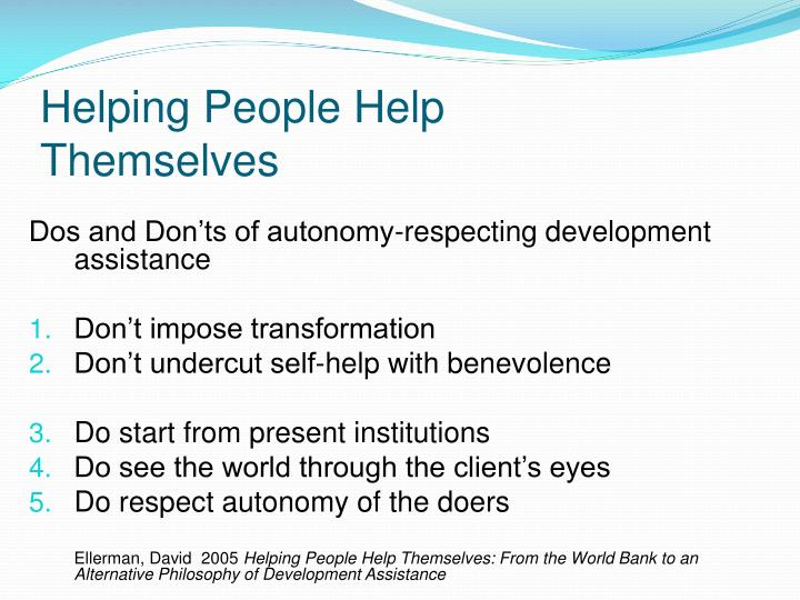 Helping People Help Themselves