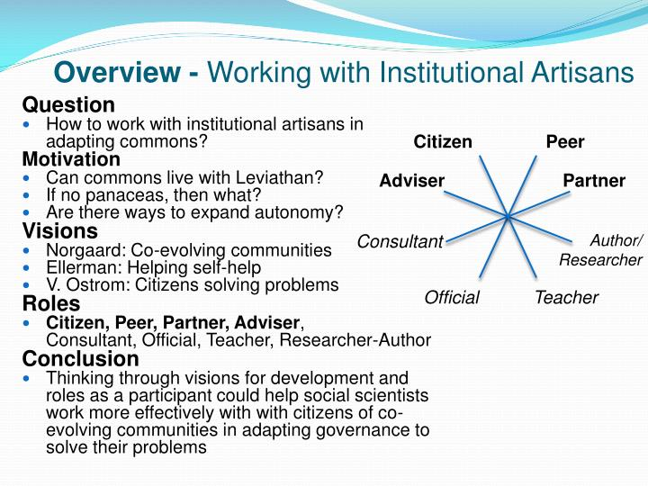 Overview working with institutional artisans