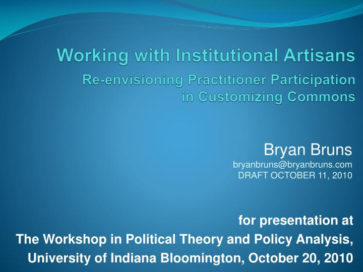 Working with Institutional Artisans