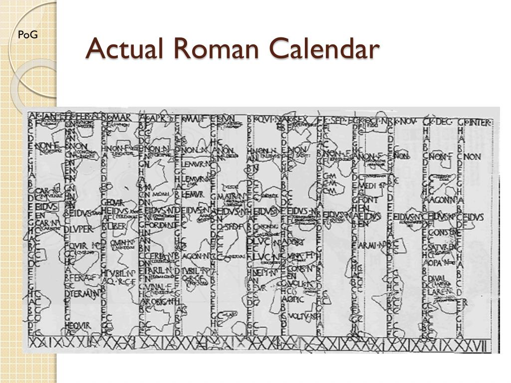 Roman Calendar.Ppt The Roman Calendar Powerpoint Presentation Id 1916103