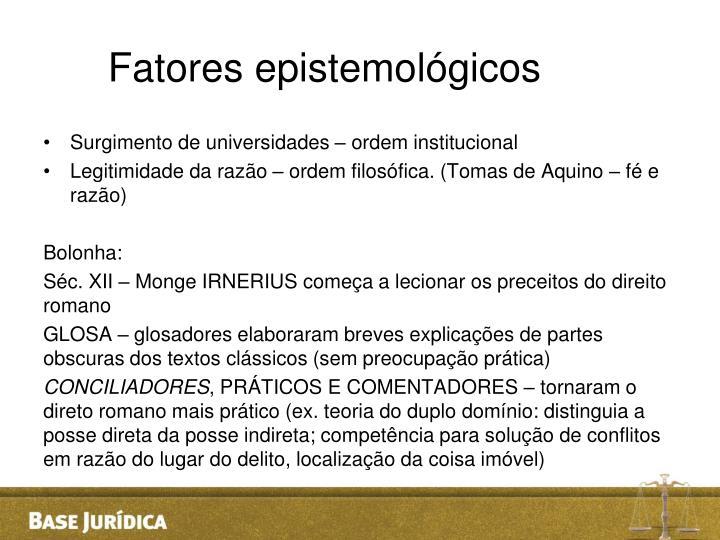 Fatores epistemológicos