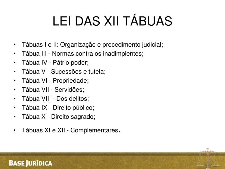LEI DAS XII TÁBUAS