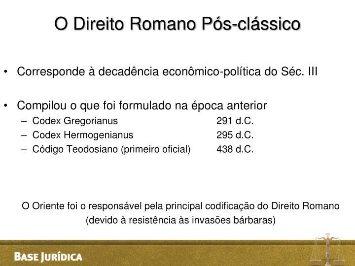 O Direito Romano Pós-clássico