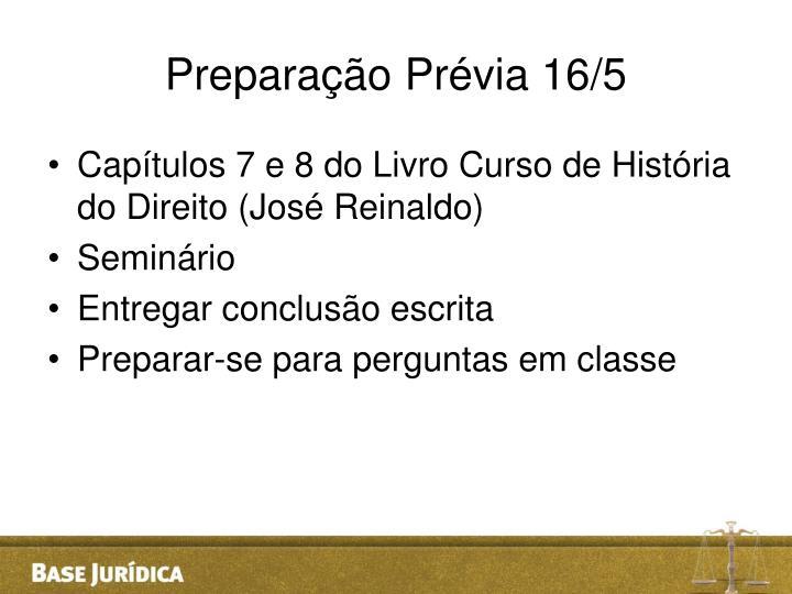 Preparação Prévia 16/5