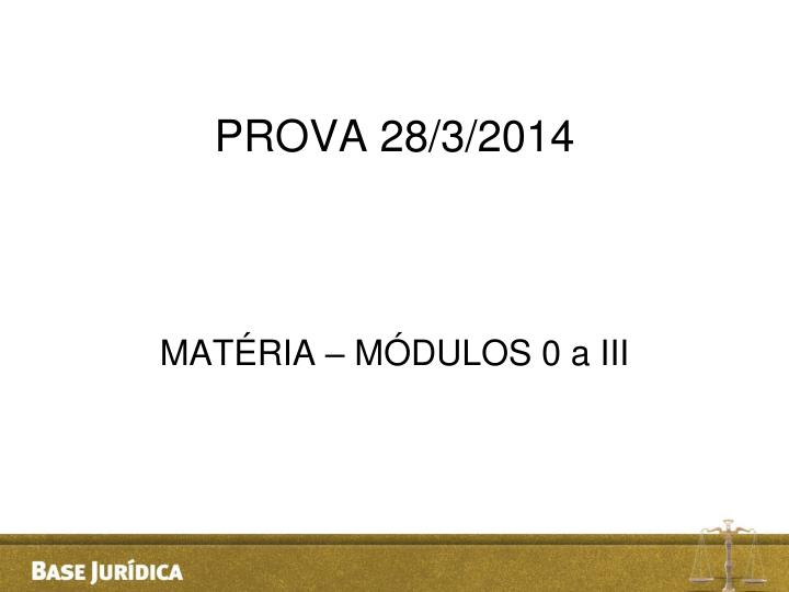 PROVA 28/3/2014