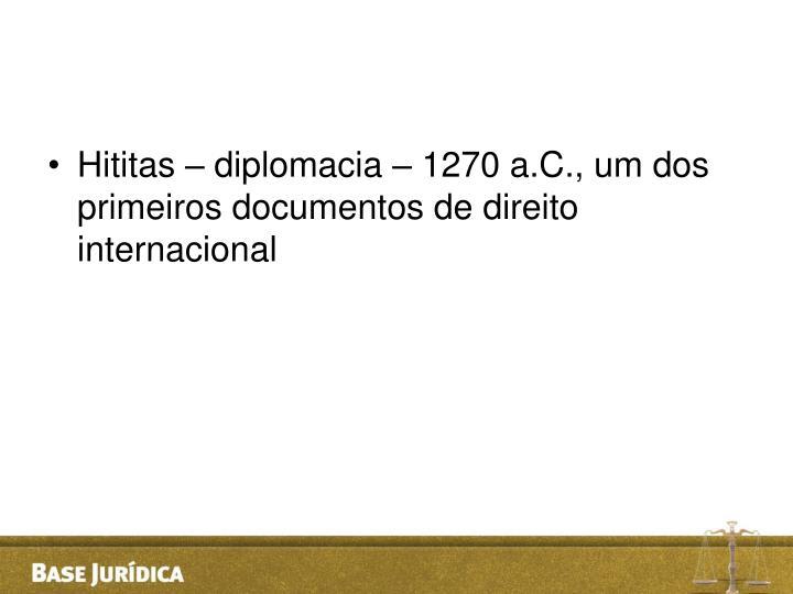 Hititas – diplomacia – 1270 a.C., um dos primeiros documentos de direito internacional