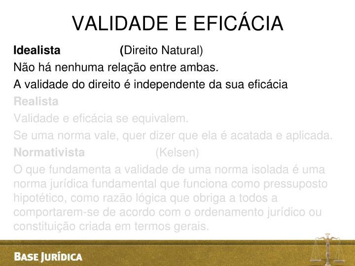 VALIDADE E EFICÁCIA