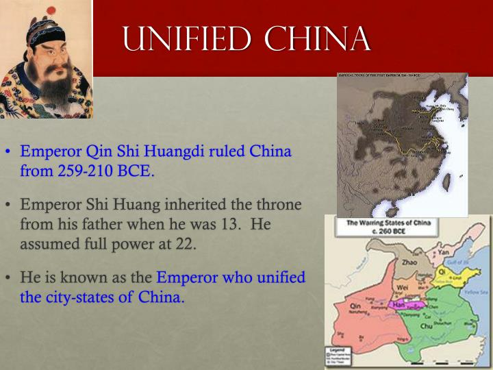 how did qin shi huangdi unify china? essay Emperor qin shi huang biography qin shi huang (ying zheng) (260-210 bc) – emperor of the first unified state of china from an early age, he was king of the state of qin during his lifetime, he conquered all the seven warring and diverging states – becoming the first person to unify china.