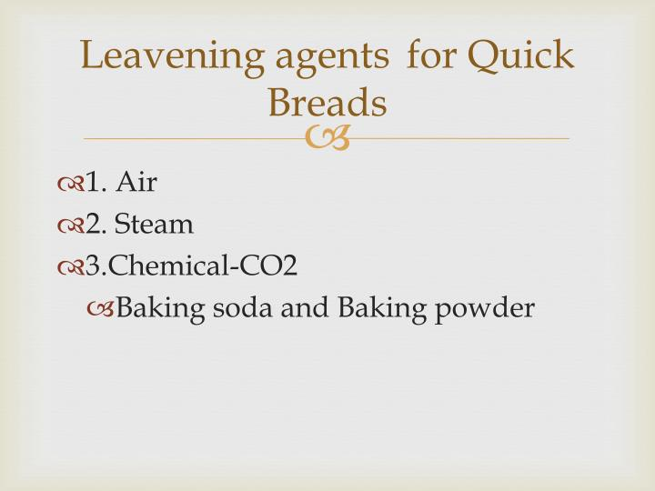 Leavening agents	for Quick Breads
