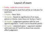 layout of exam